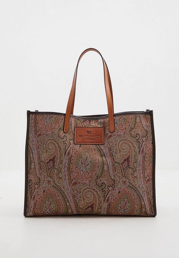 женская сумка-шоперы etro, коричневая