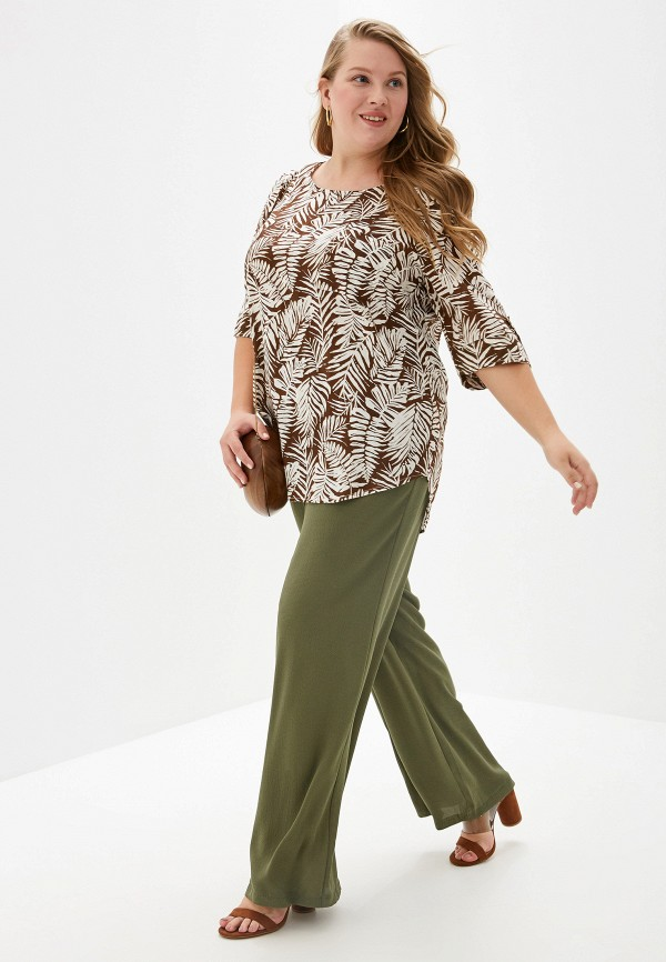 Фото 2 - Женскую блузку Evans коричневого цвета