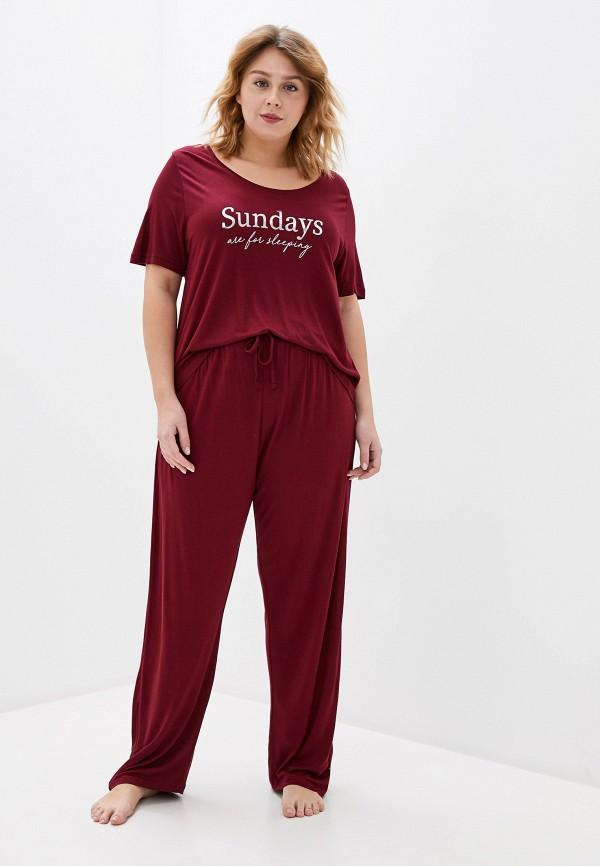 женская пижама evans, бордовая
