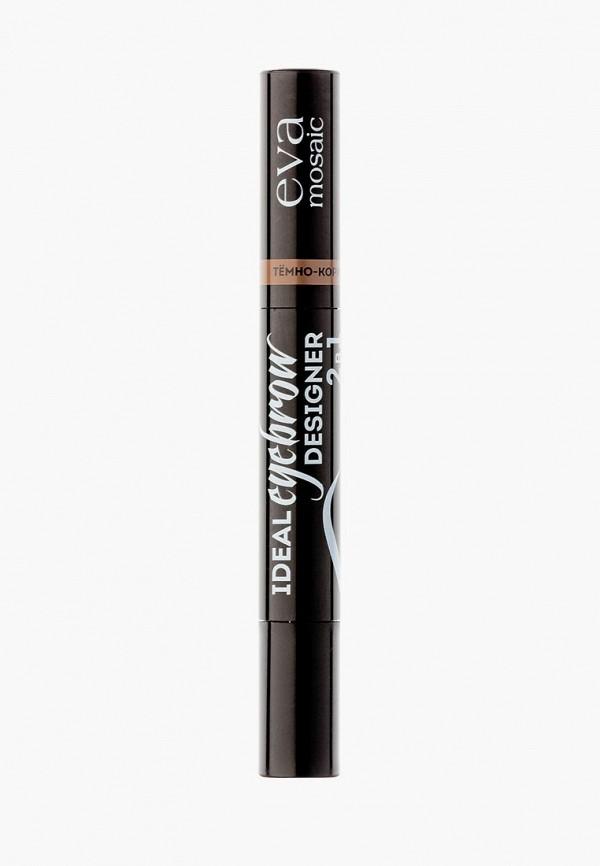 Купить Тени для век Eva Mosaic, Ideal Eyebrow Designer, 1.6 г, темно-коричневый, EV011LWCJYN4, прозрачный, Осень-зима 2018/2019