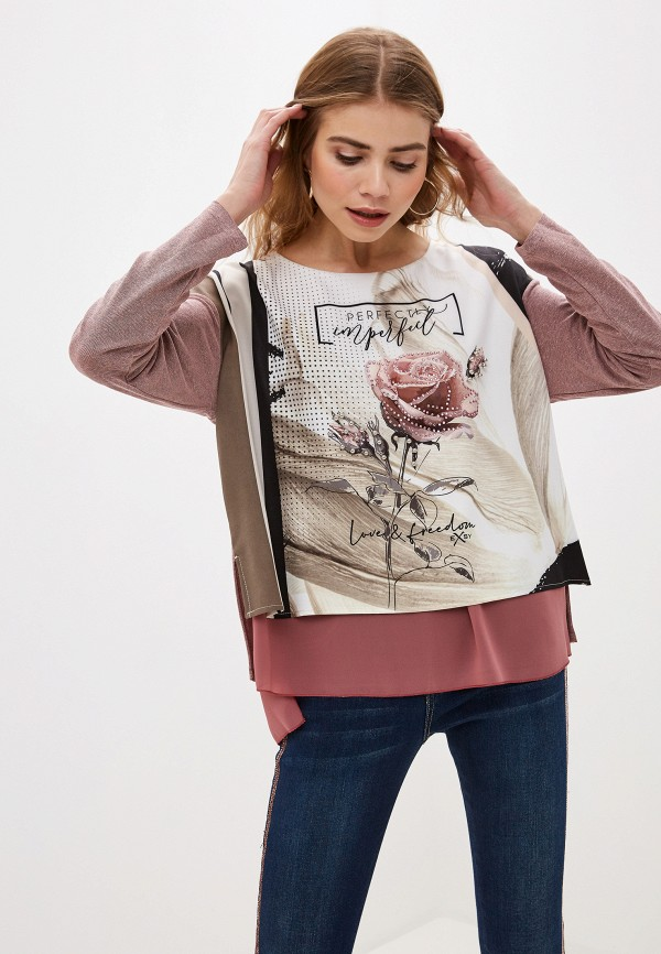 женская блузка с длинным рукавом exsy, бежевая