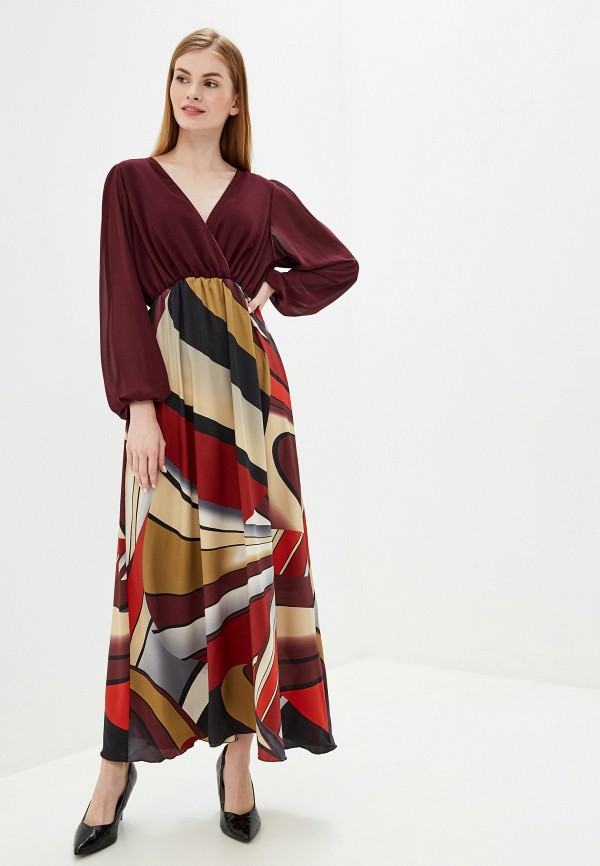 женское повседневные платье exsy, бордовое