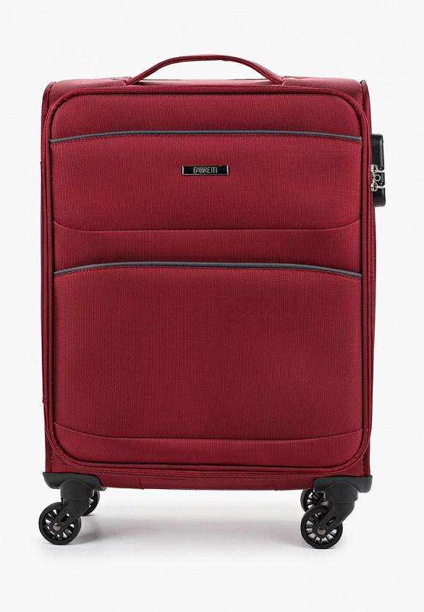 женский чемодан fabretti, бордовый