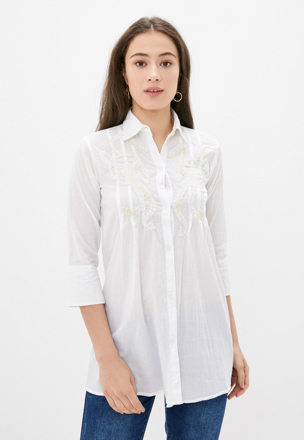 женская блузка с длинным рукавом fabretti, белая