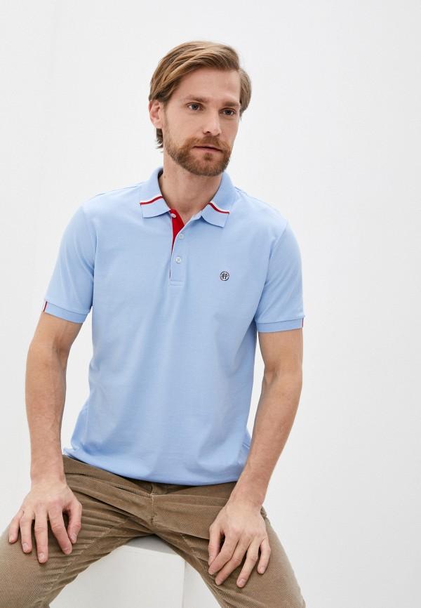мужское поло felix hardy, голубое
