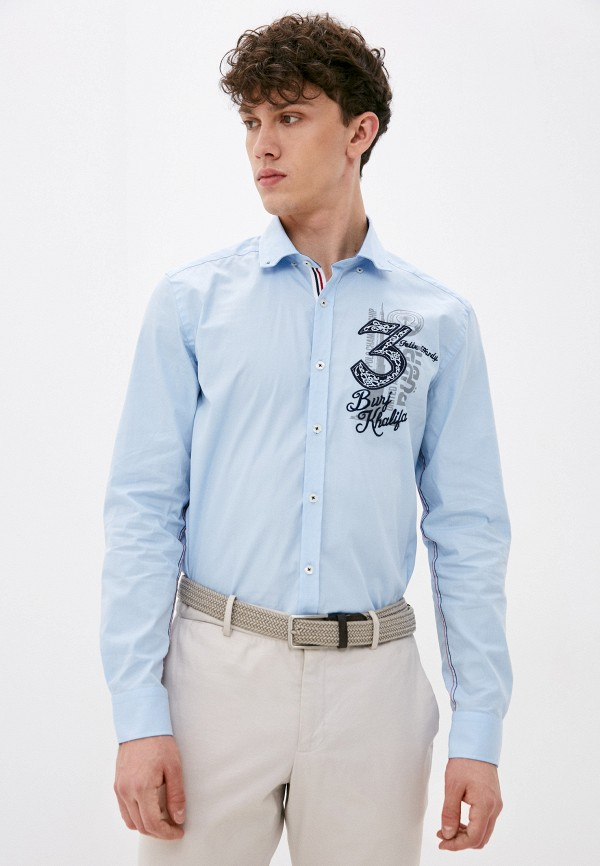 мужская рубашка с длинным рукавом felix hardy, голубая