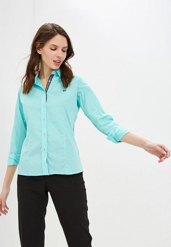 женская рубашка с длинным рукавом felix hardy, бирюзовая