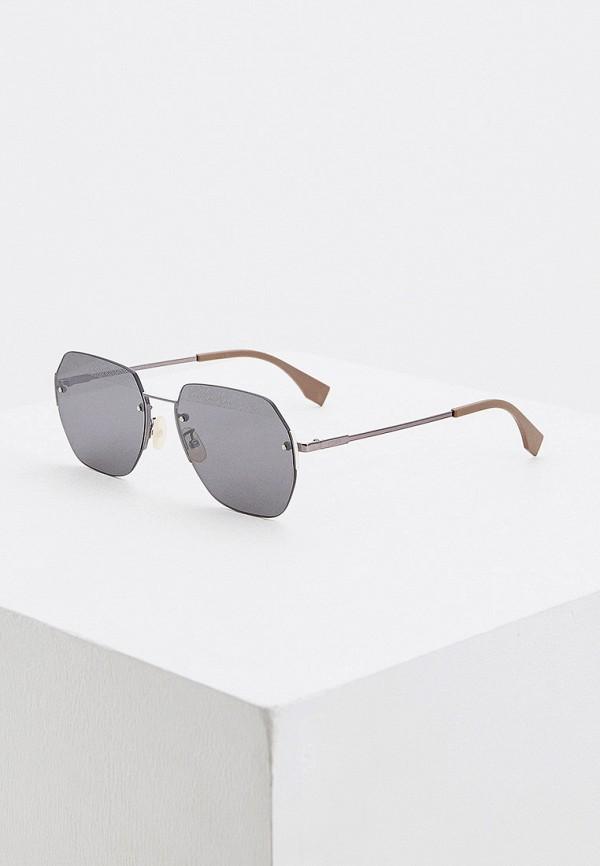 мужские квадратные солнцезащитные очки fendi, серебряные