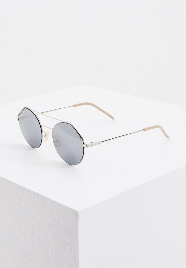 мужские круглые солнцезащитные очки fendi, серебряные