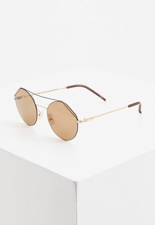 мужские круглые солнцезащитные очки fendi, золотые