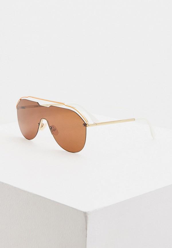 женские авиаторы солнцезащитные очки fendi, оранжевые