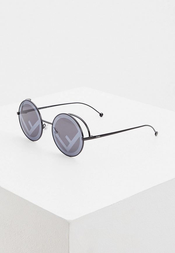 женские круглые солнцезащитные очки fendi, черные