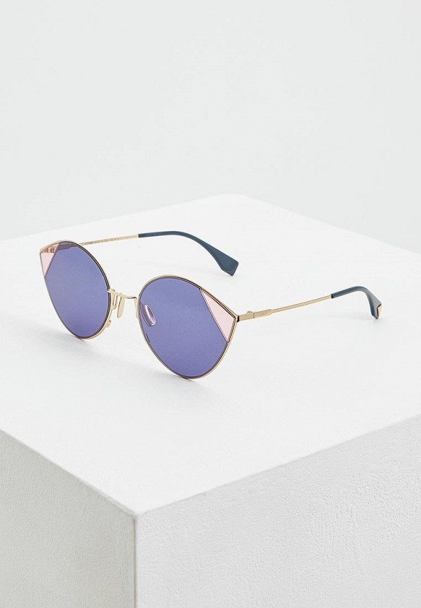 женские солнцезащитные очки кошачьи глаза fendi, синие