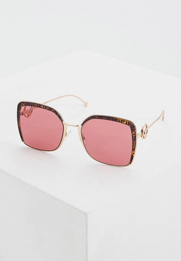 женские солнцезащитные очки fendi, золотые
