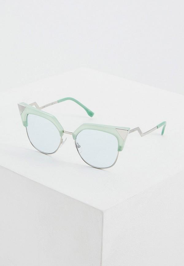 женские солнцезащитные очки кошачьи глаза fendi, зеленые