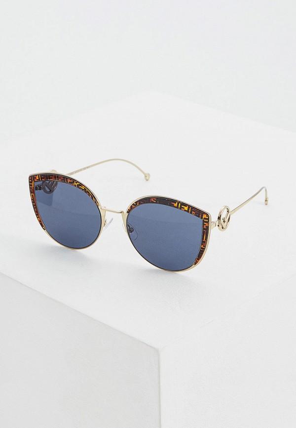 женские солнцезащитные очки кошачьи глаза fendi, золотые