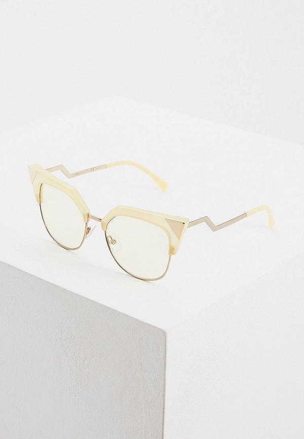 женские солнцезащитные очки кошачьи глаза fendi, бежевые