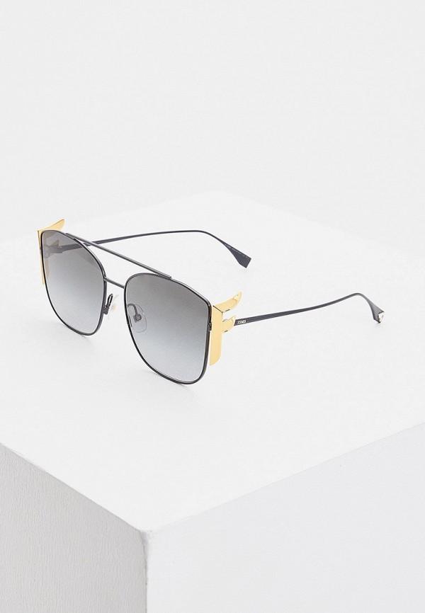 женские авиаторы солнцезащитные очки fendi, черные