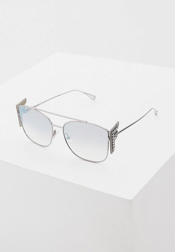 женские солнцезащитные очки кошачьи глаза fendi, серебряные