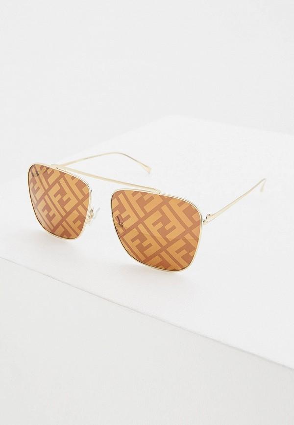 женские квадратные солнцезащитные очки fendi, золотые
