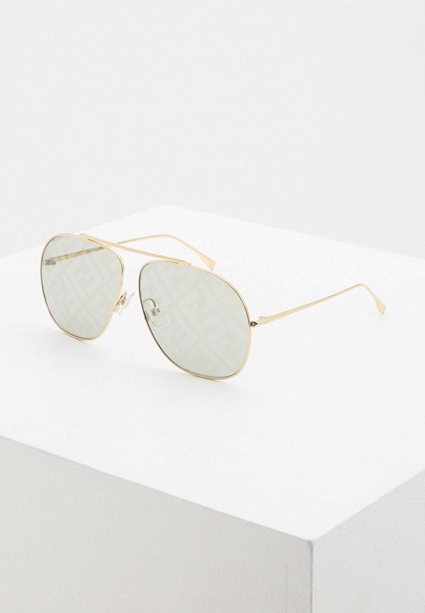 женские авиаторы солнцезащитные очки fendi, золотые