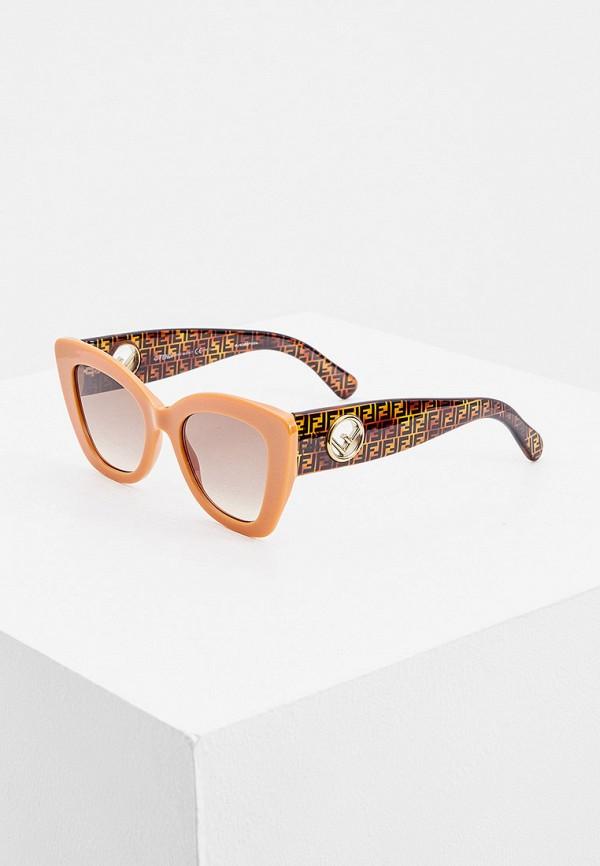 женские солнцезащитные очки кошачьи глаза fendi, оранжевые