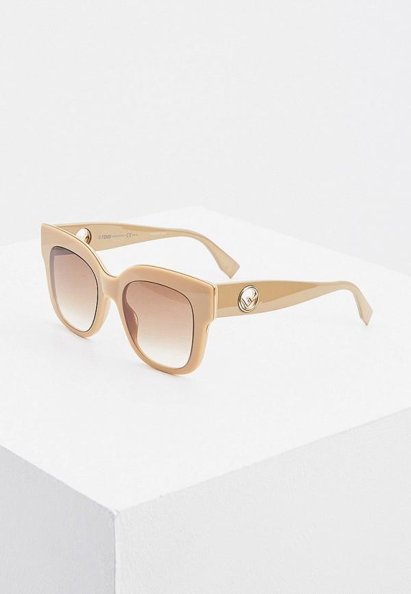 женские солнцезащитные очки fendi, бежевые