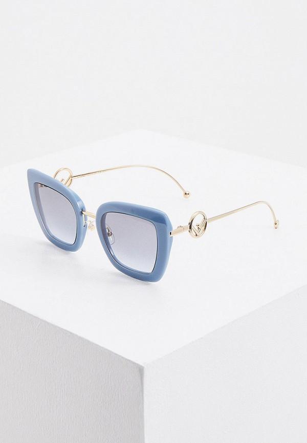 женские солнцезащитные очки кошачьи глаза fendi, голубые