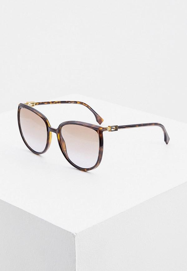 женские круглые солнцезащитные очки fendi, коричневые