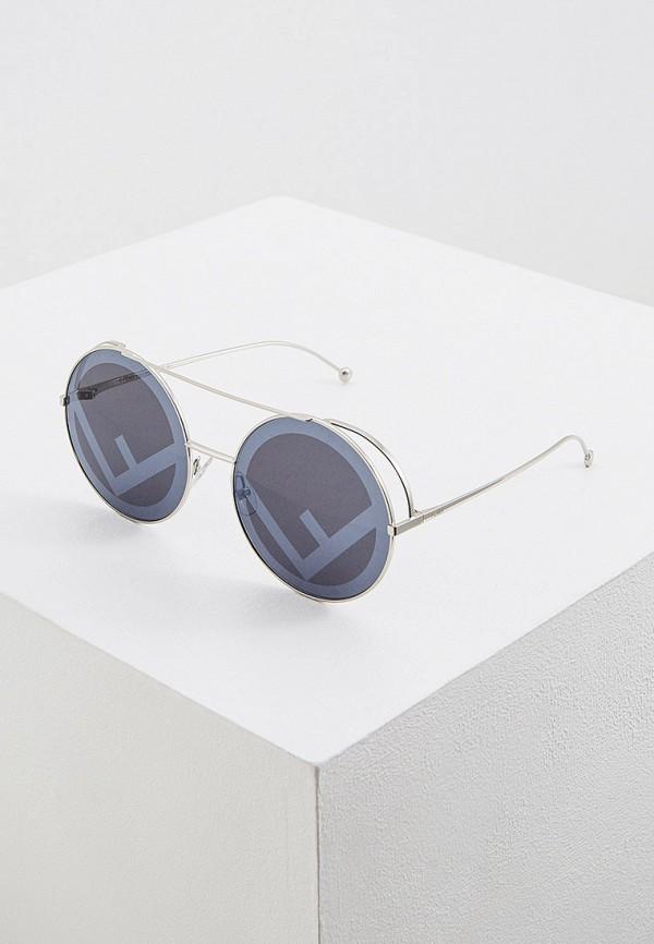 женские круглые солнцезащитные очки fendi, серебряные