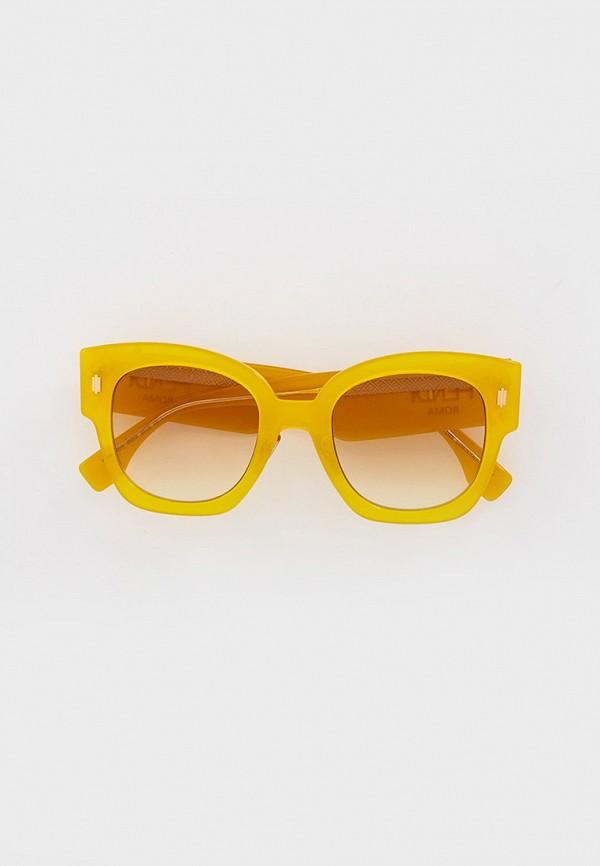 женские квадратные солнцезащитные очки fendi, желтые