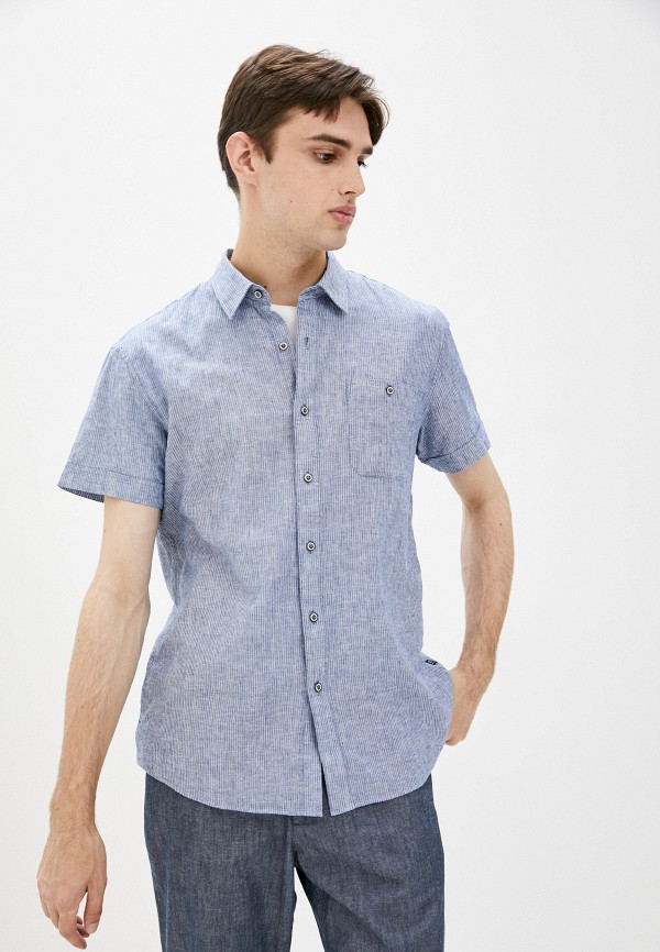 мужская рубашка с коротким рукавом finn flare, синяя