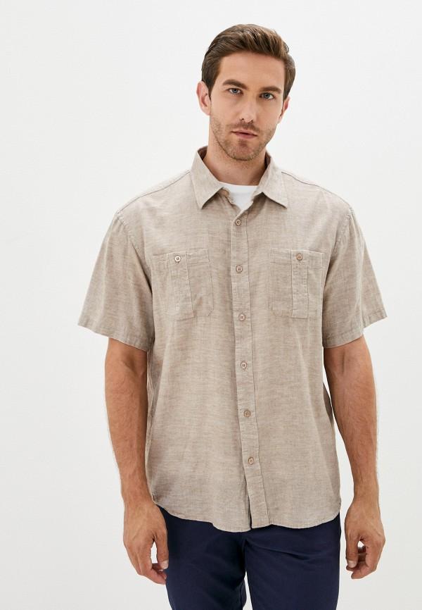 мужская рубашка с коротким рукавом finn flare, коричневая
