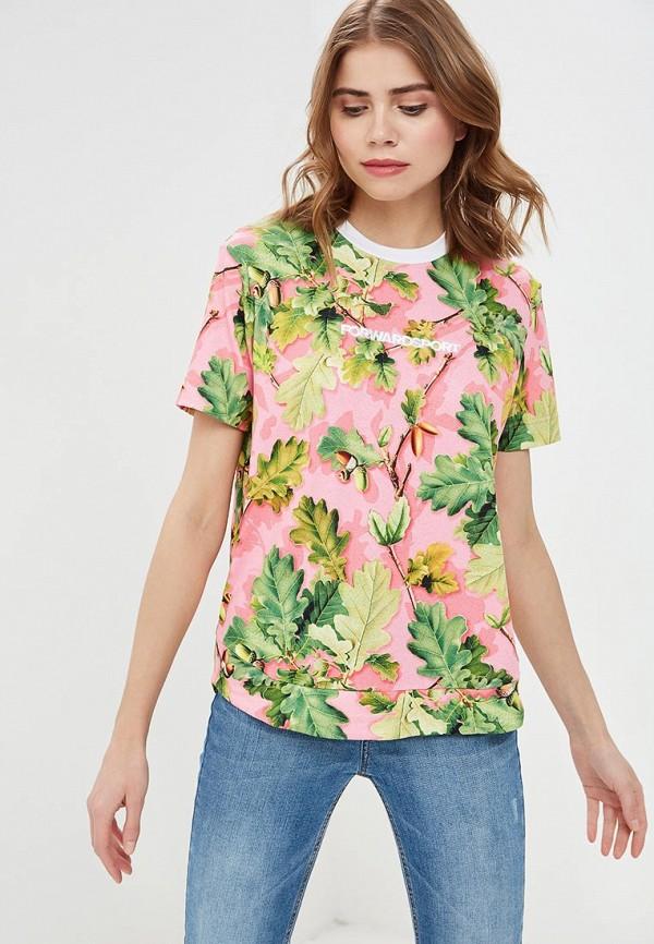женская спортивные футболка forward, розовая