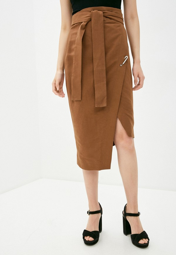 женская прямые юбка forte dei marmi couture, коричневая