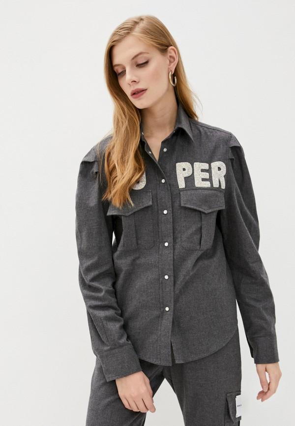 женская рубашка с длинным рукавом forte dei marmi couture, серая