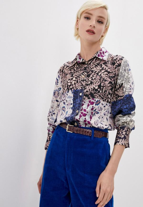 женская блузка с длинным рукавом forte forte, разноцветная