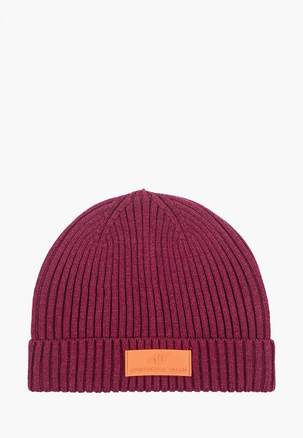 женская шапка 4f, бордовая