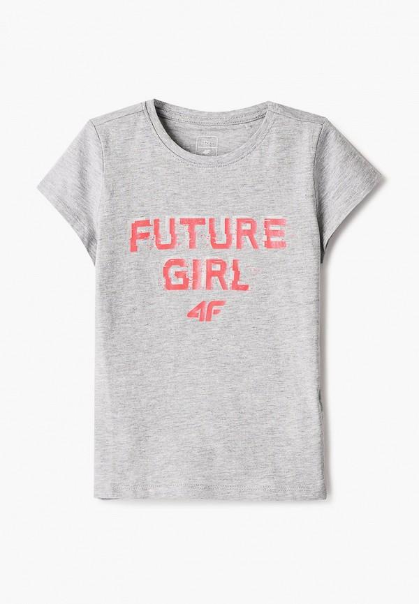 футболка 4f для девочки, серая