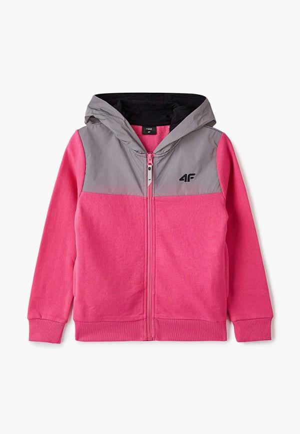 толстовка 4f для девочки, розовая