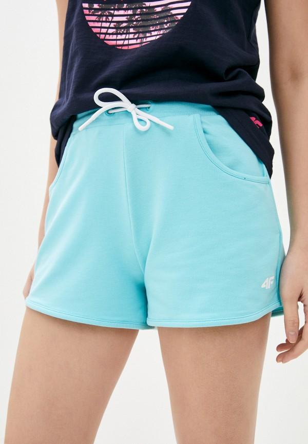 женские спортивные шорты 4f, бирюзовые