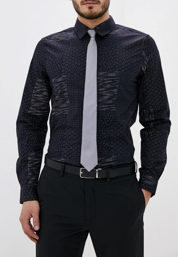 мужская рубашка с длинным рукавом french connection, синяя