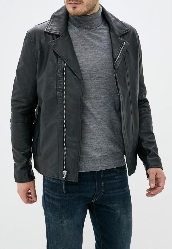 мужская кожаные куртка french connection, черная