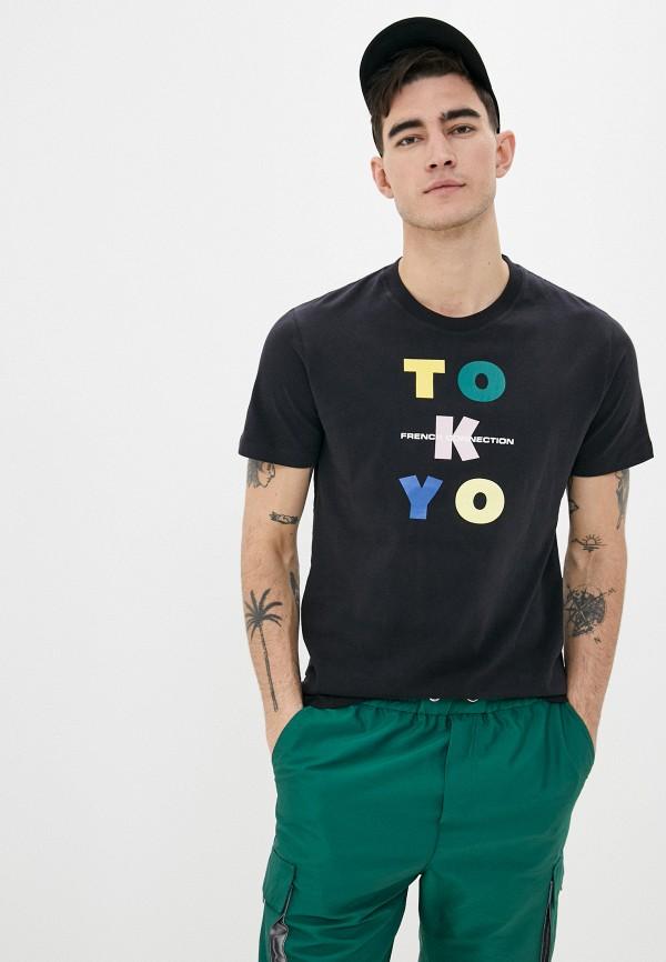 мужская футболка с коротким рукавом french connection, черная