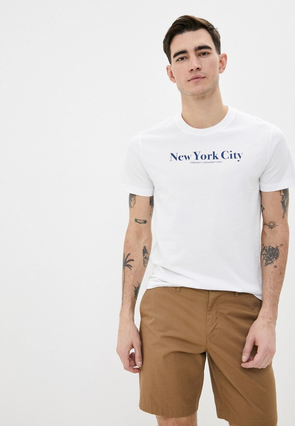 мужская футболка с коротким рукавом french connection, белая