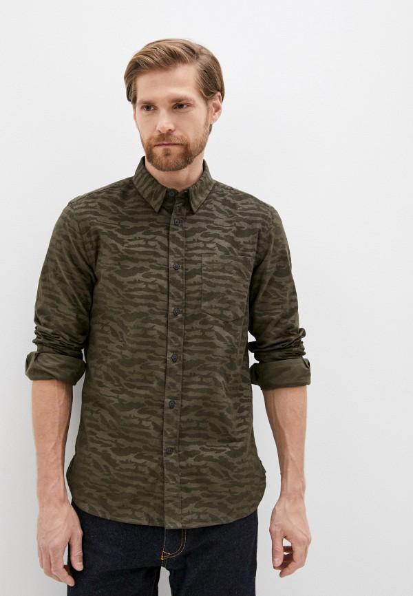 мужская рубашка с длинным рукавом french connection, хаки