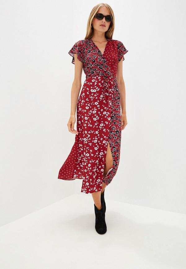 женское платье french connection, бордовое