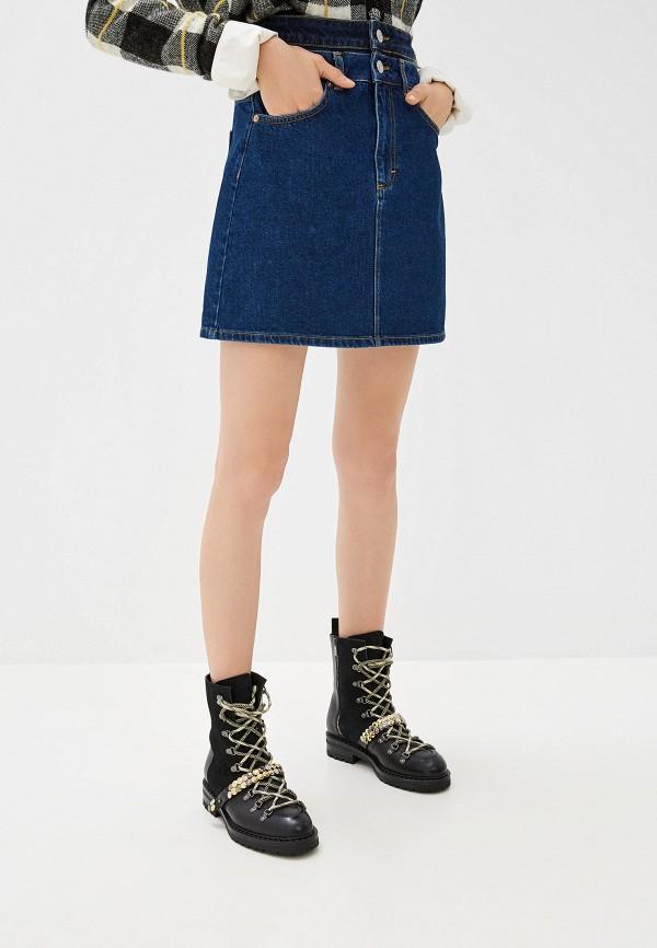 женская джинсовые юбка french connection, синяя