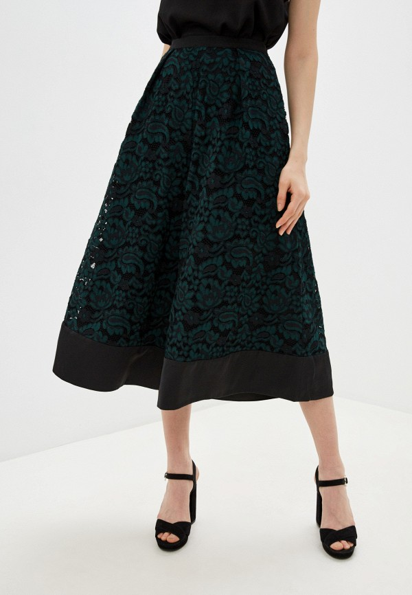женская юбка-трапеции french connection, зеленая