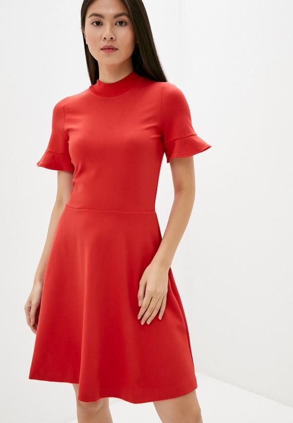 женское платье миди french connection, красное